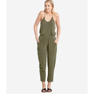 Grana Silk Ankle Pants Olive Green, Size S (Long)